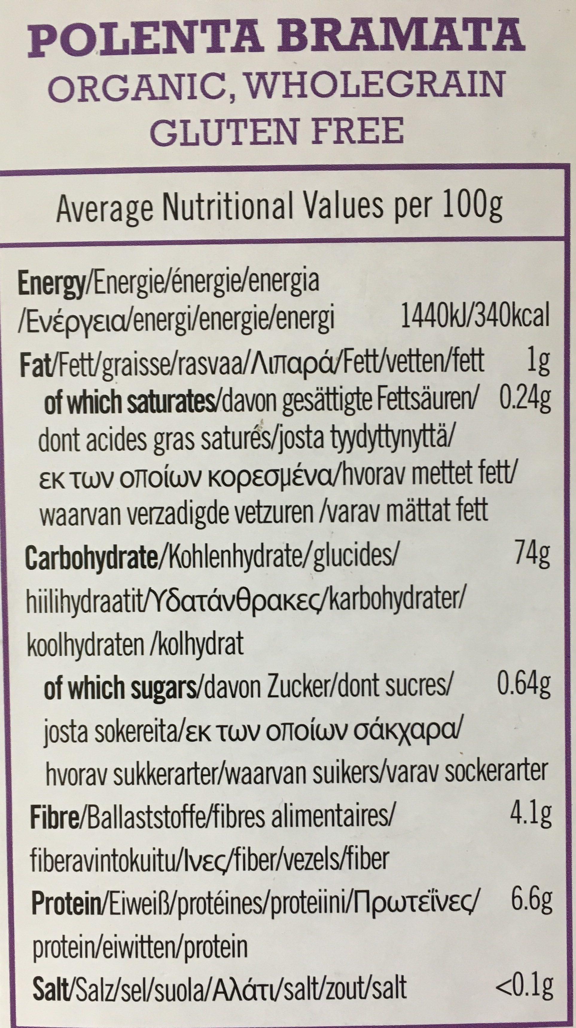 Biona Organic Polenta 500G - Ingredienti - fr