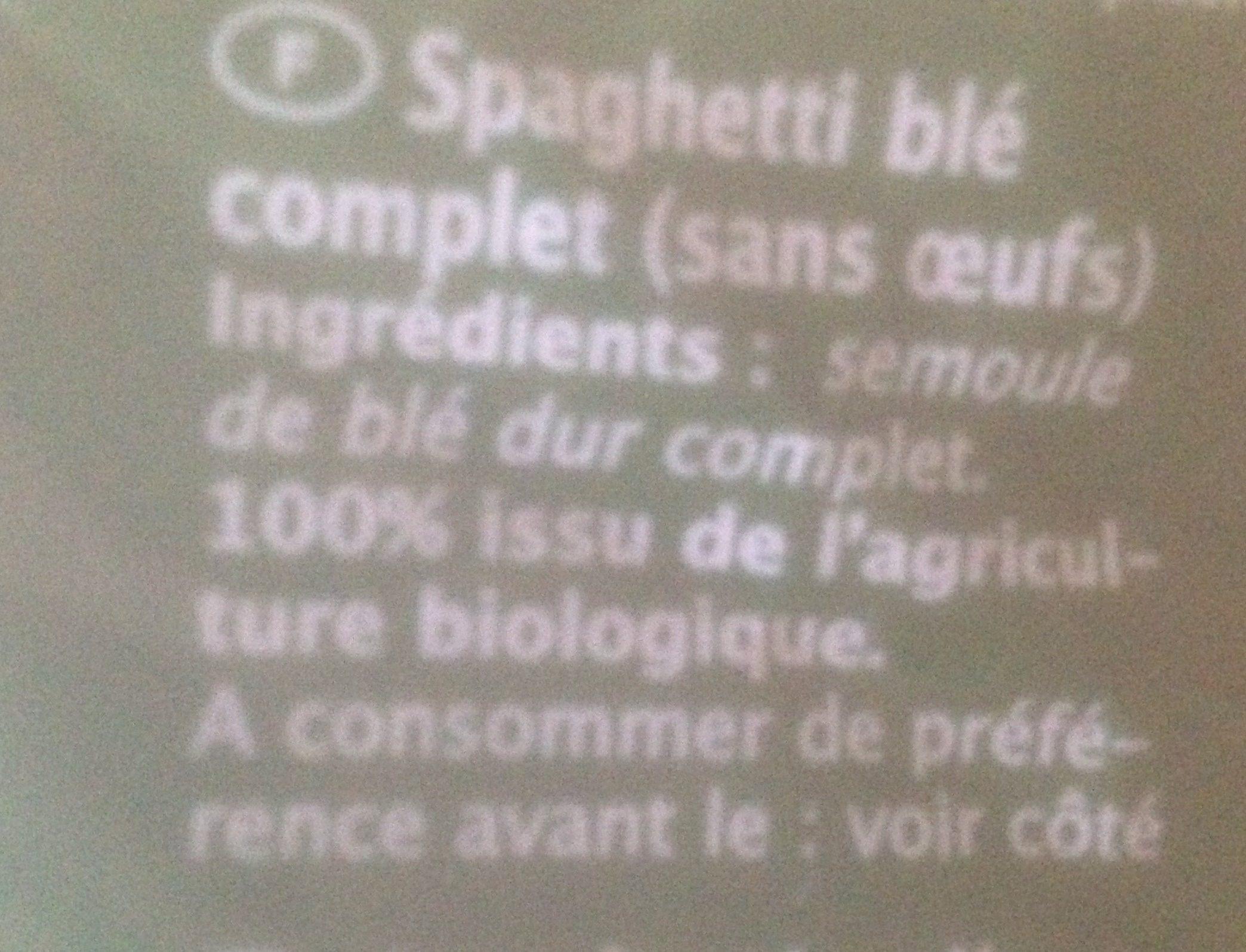Spaghetti, Vollkorn - Ingredients - fr
