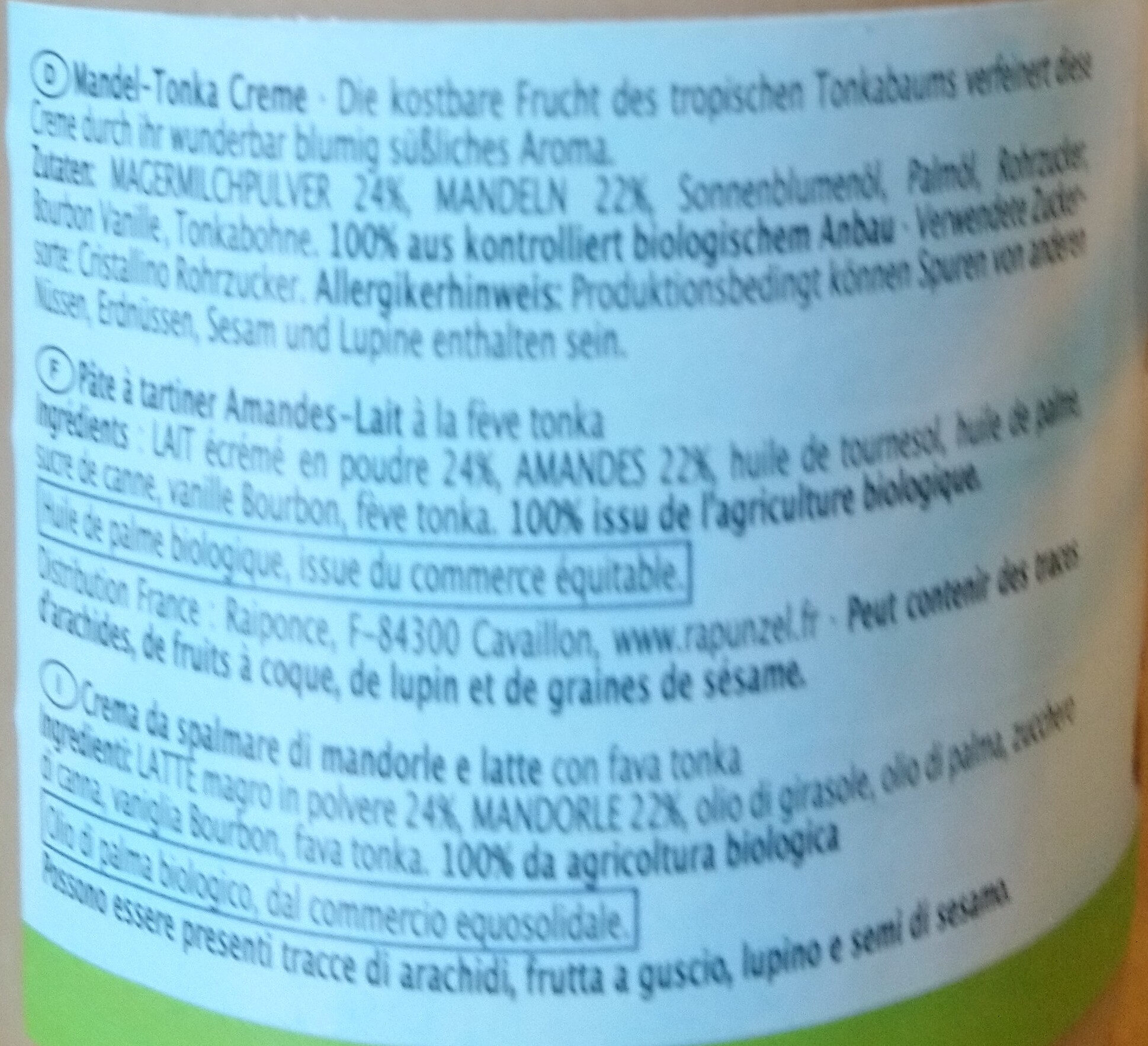 Mandel-Tonka Creme - Ingredients