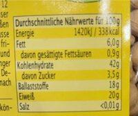Kichererbsen, 500 GR Packung - Valori nutrizionali - de