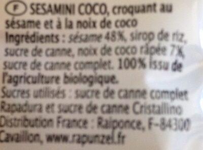 Sesambar(4 27g) - 108 GR - Biogan A / S - Ingrédients - fr