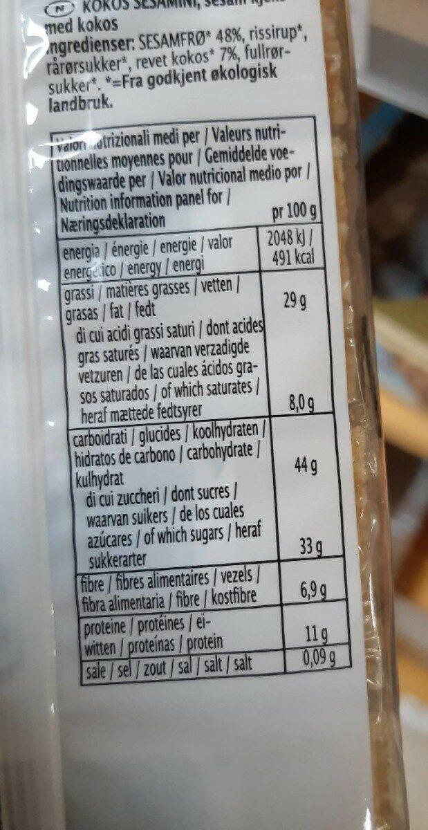 Sesambar(4 27g) - 108 GR - Biogan A / S - Informations nutritionnelles - fr