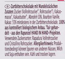 Zartbitter Mandel - Inhaltsstoffe