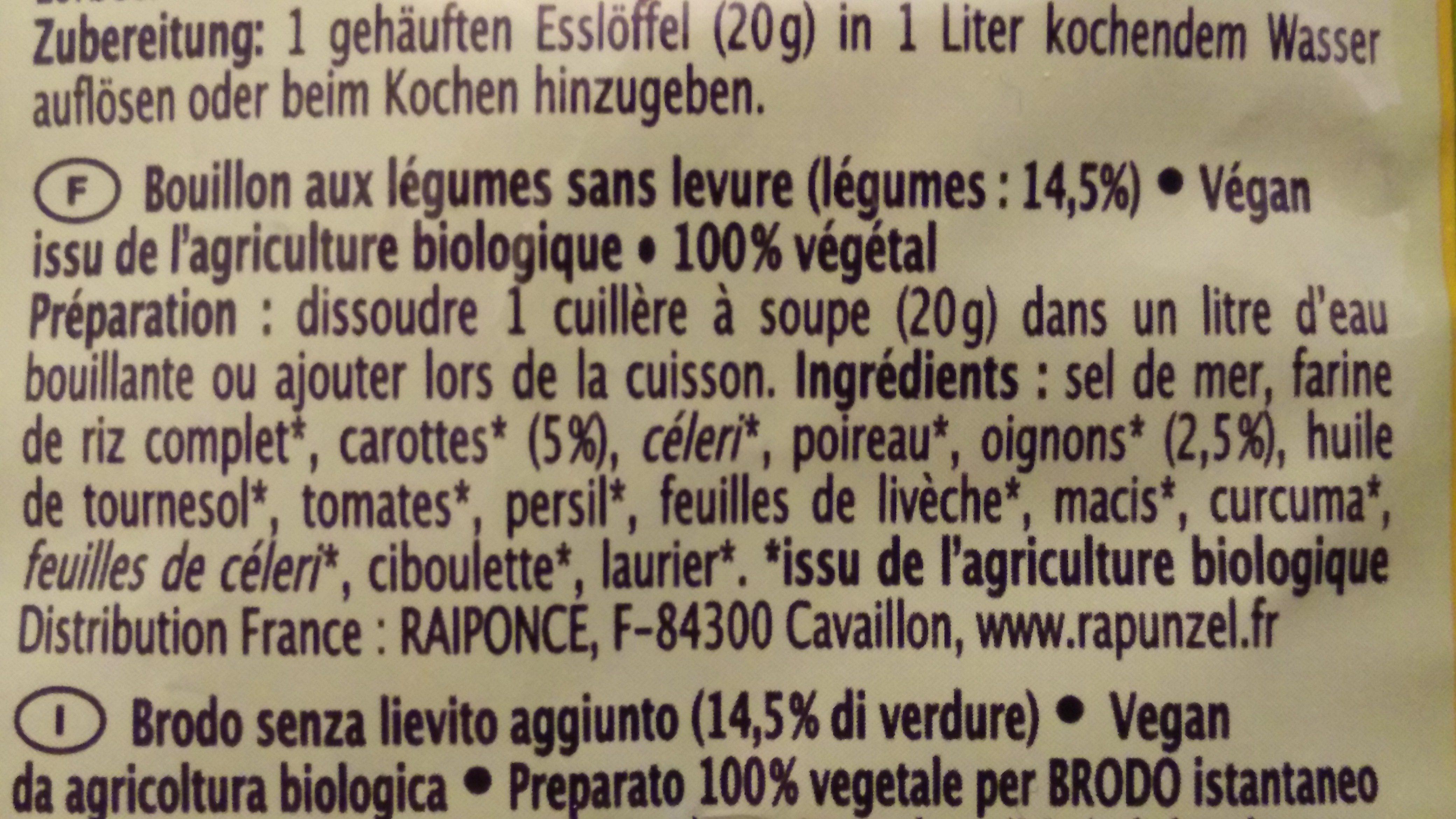 Bouillon sans levure - Klare Suppe - Ingredients - fr