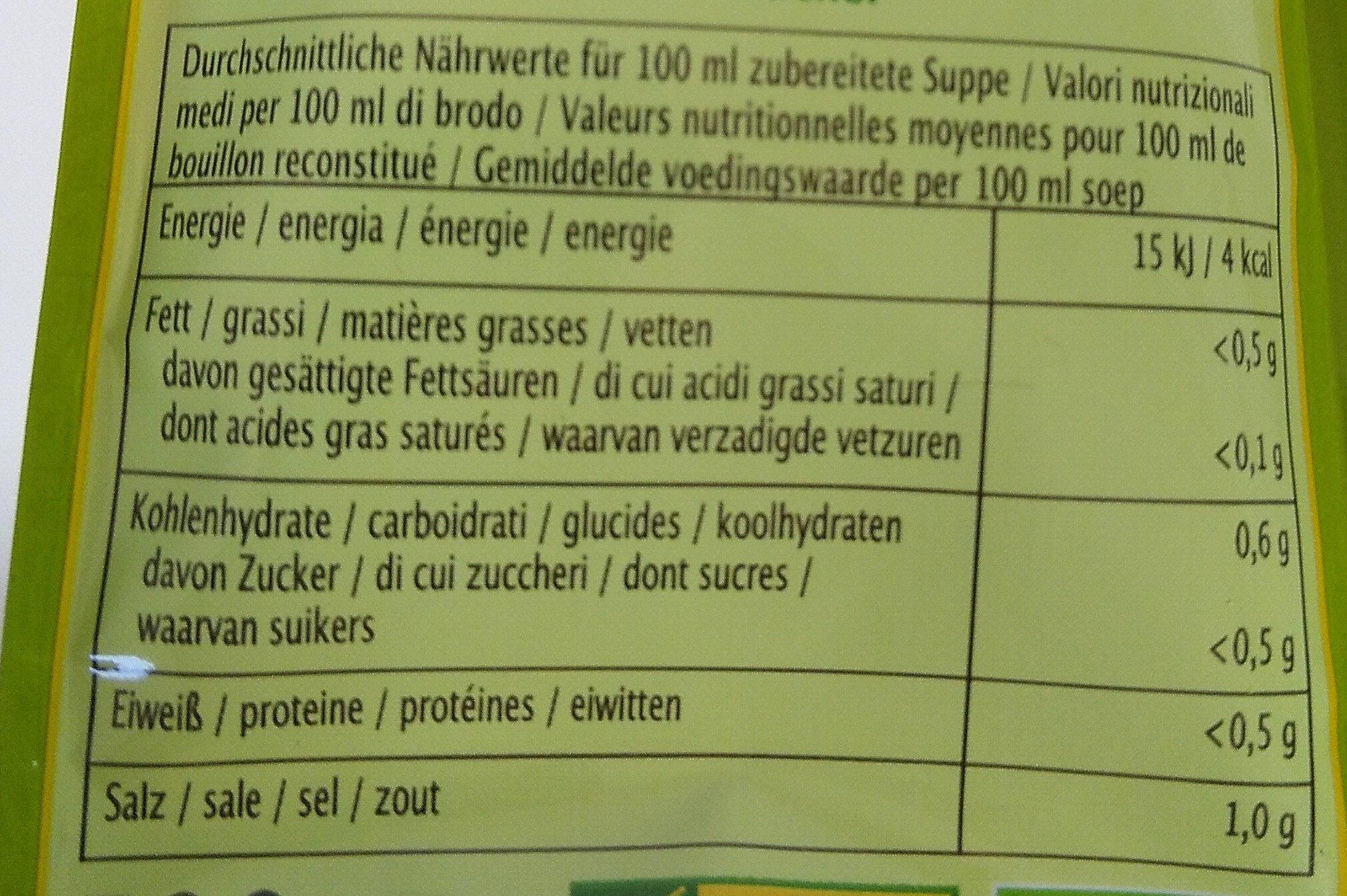 Bouillon sans levure - Klare Suppe - Nutrition facts - fr