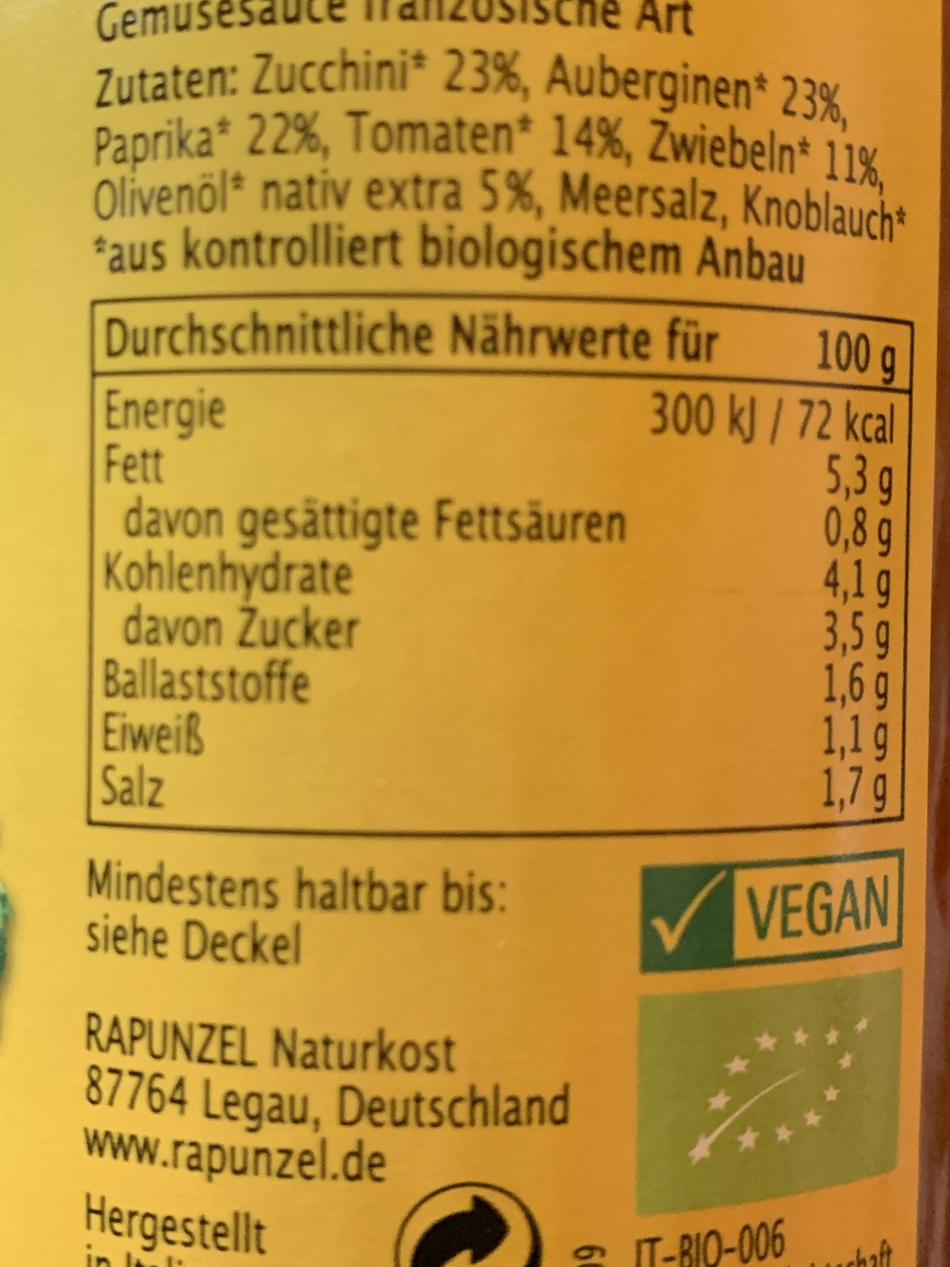 Ratatouille - Informations nutritionnelles - de
