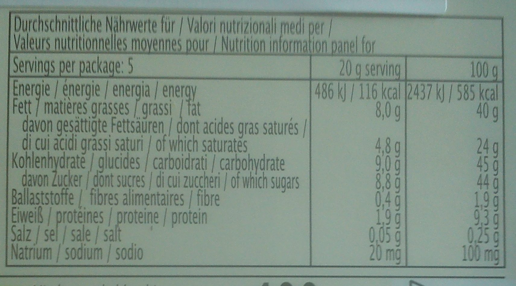 Vollmich schokolade - Voedingswaarden