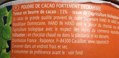 Poudre de Cacao - Ingrédients - fr