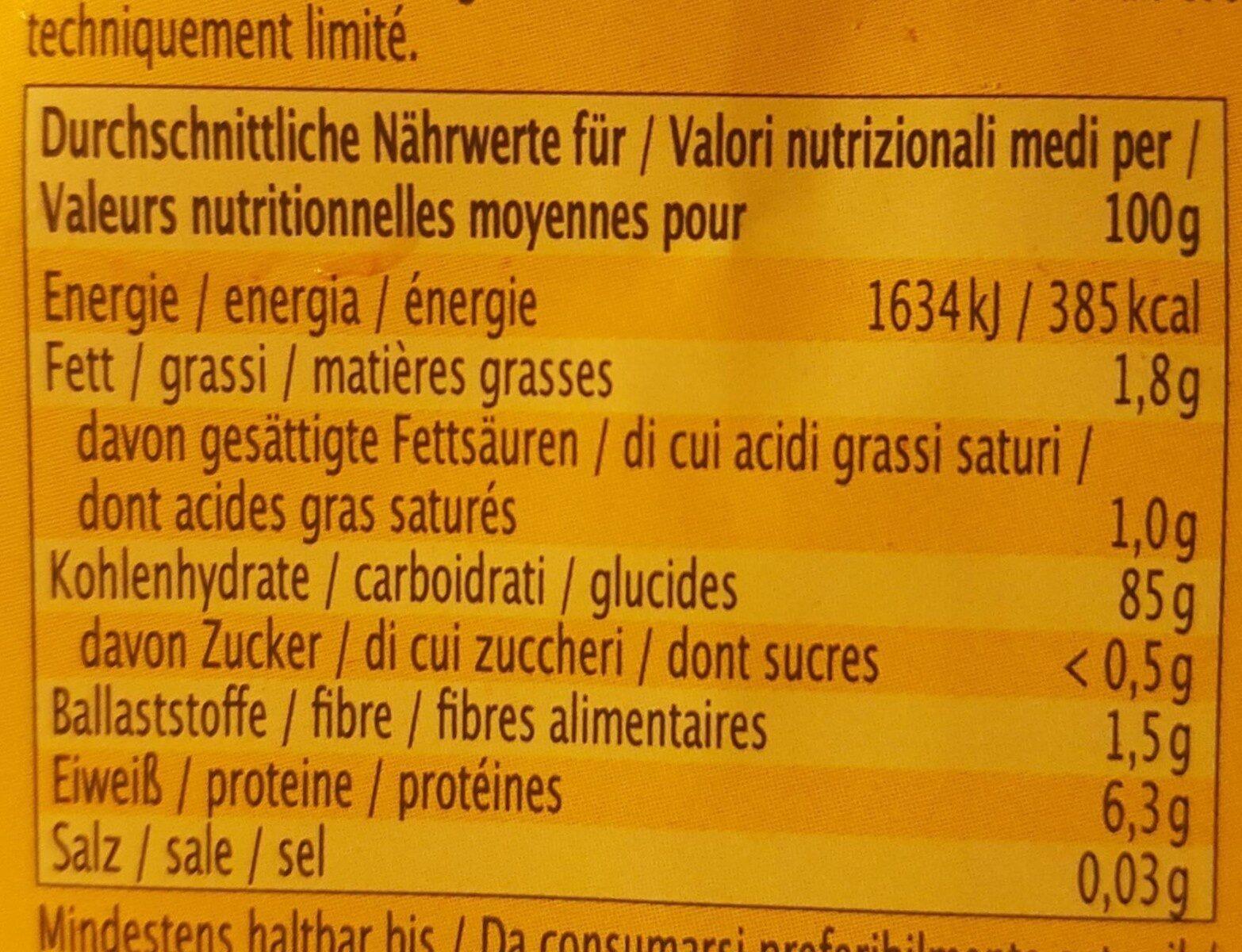 Vollkorn Gepufftes Reis - Nutrition facts - de