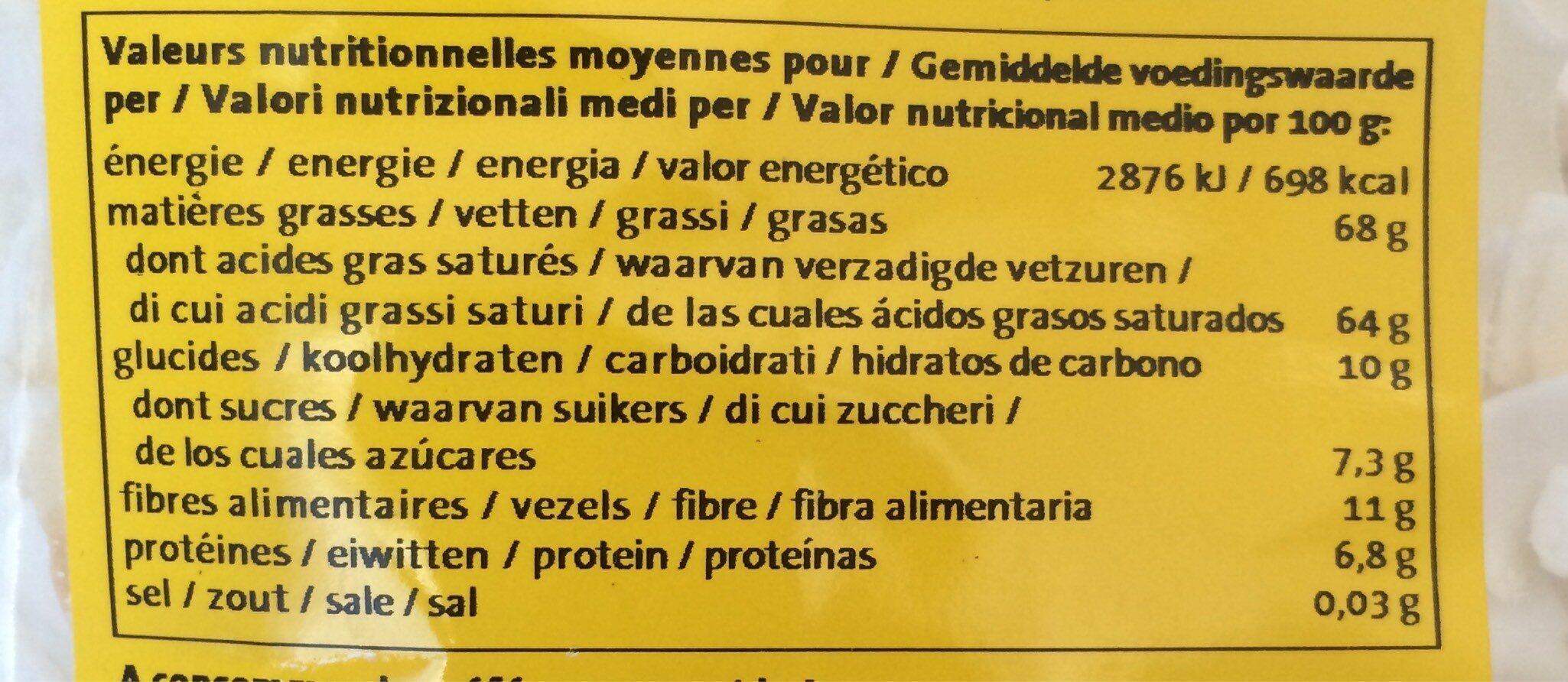 Coco chips - Información nutricional