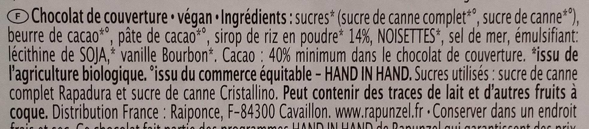Chocolat végan - Ingredients - fr