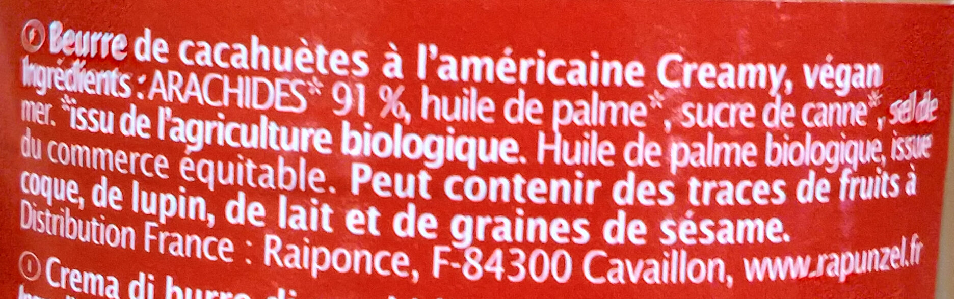 Original Peanutbutter Creamy - Ingrédients - fr