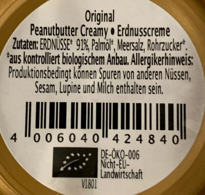 Original Peanut Butter creamy - Ingredients - de