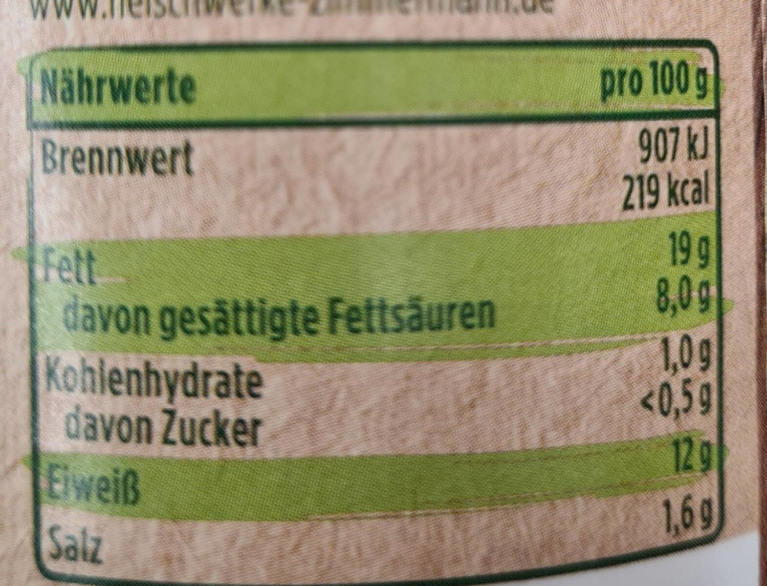 Wiener Würstchen - Nährwertangaben - de