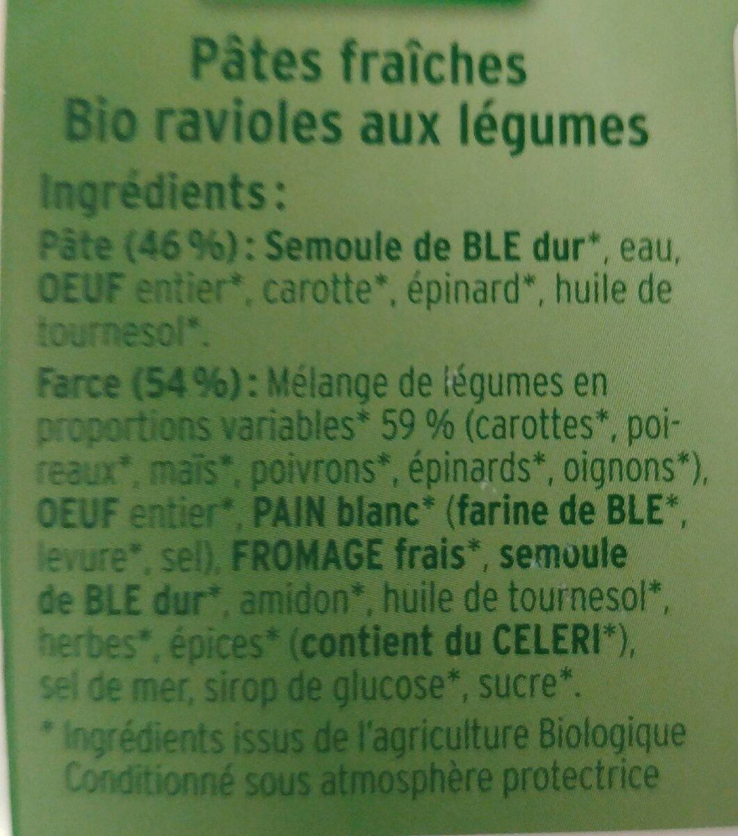 Bio Gemüse Maultaschen, Gemüse - Ingredients