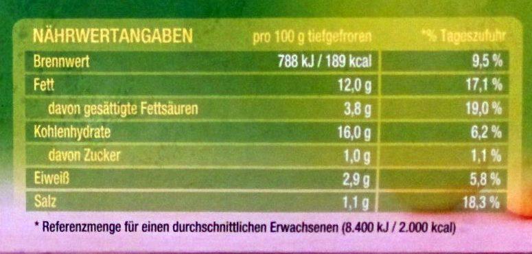 Kartoffel-Taschen - Nutrition facts