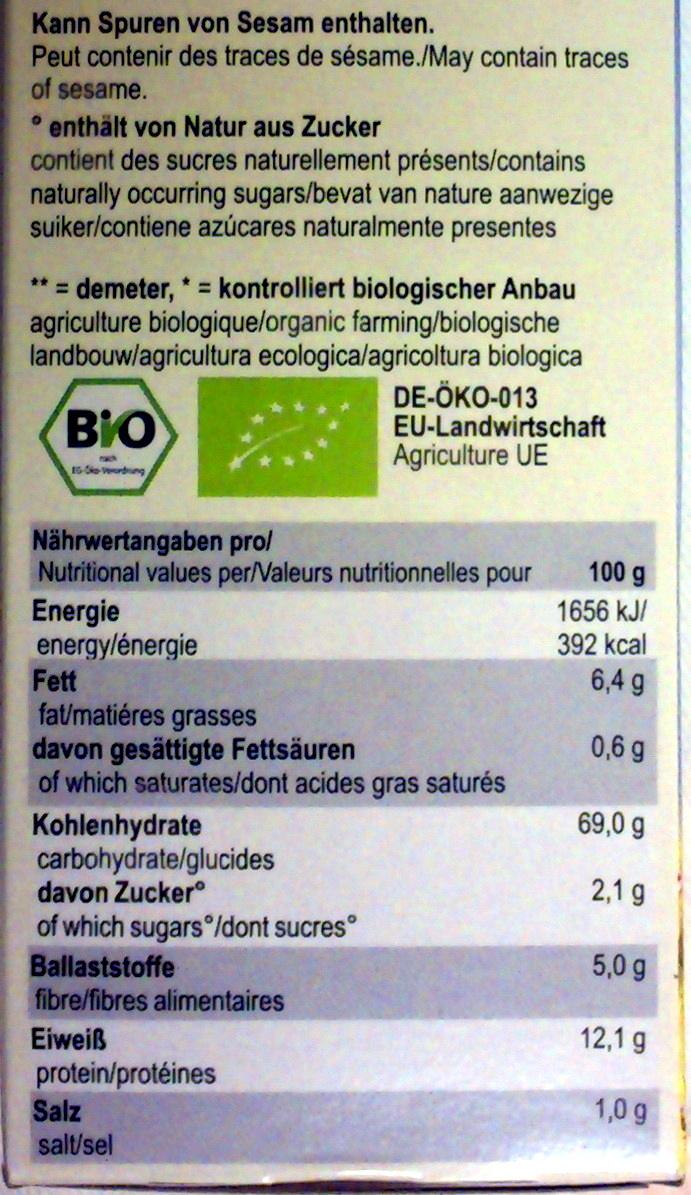 Dinkel-Zwieback - Nutrition facts