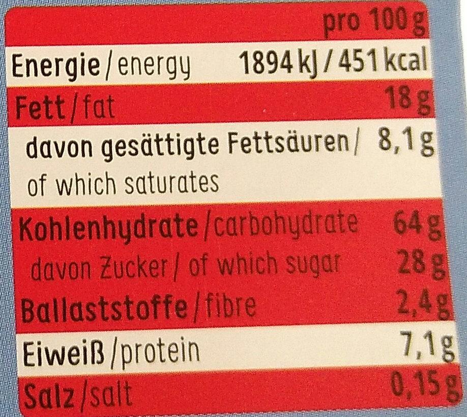 Dinkel Zimtgebäck - Informations nutritionnelles - de