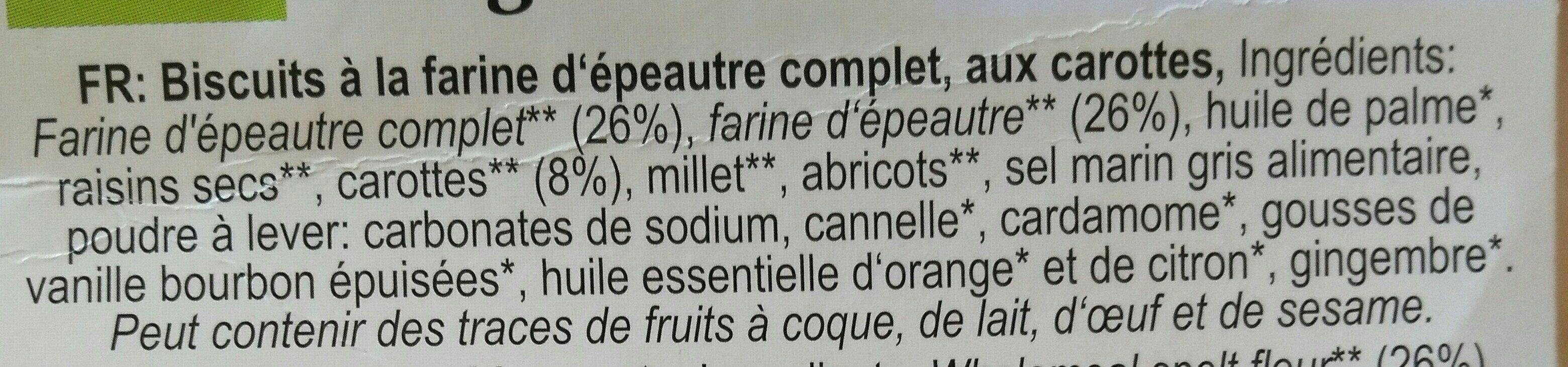 Dinkel Rübli-Kekse - Ingredienti - fr