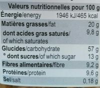 Dinkel Rübli-Kekse - Informazioni nutrizionali - fr