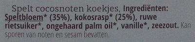 Dinkel Kokos Feine Plätzchen - Ingrediënten - nl