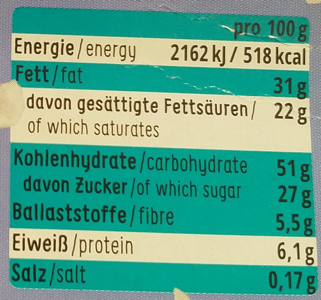 Dinkel Kokos Feine Plätzchen - Nutrition facts - de