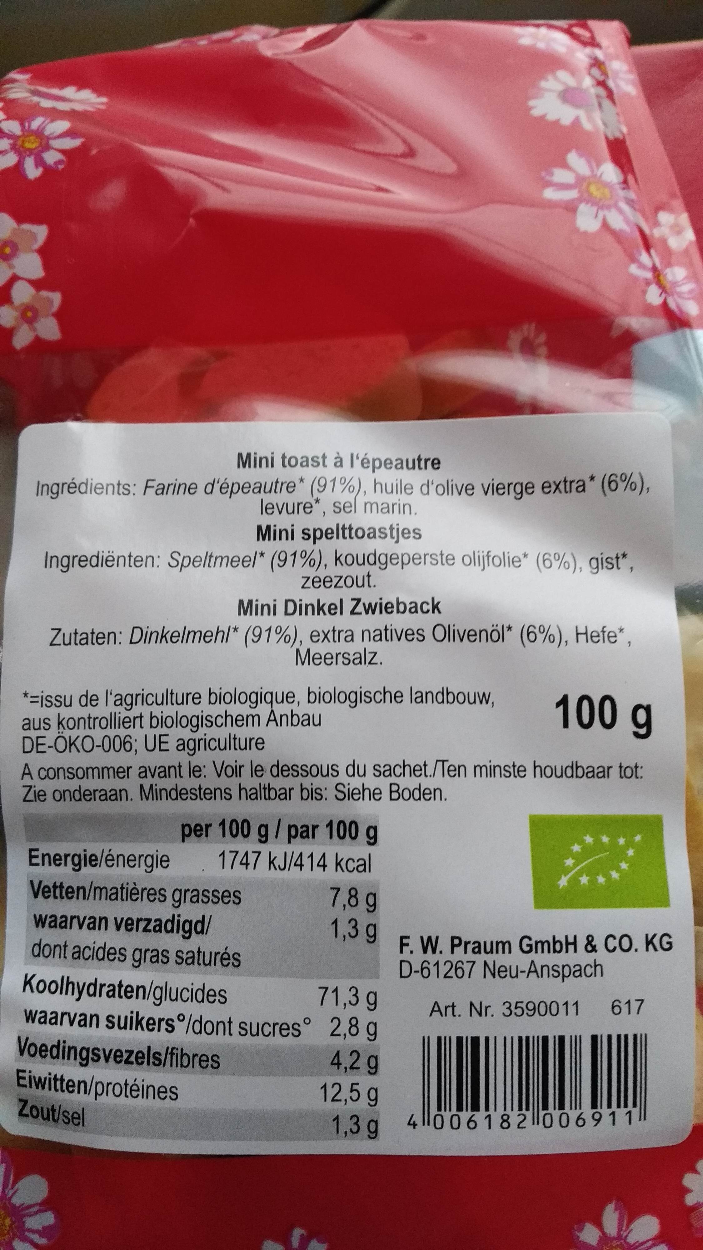 Mini Toasts à l'épautre - Ingrediënten
