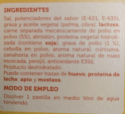 Caldo de pollo - Ingredients - es