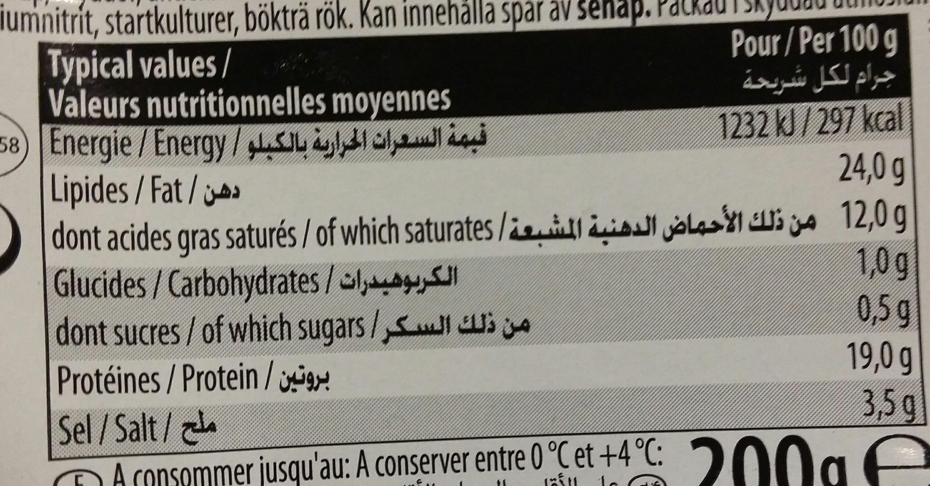 Salami de dinde Thamina Halal - Informations nutritionnelles - fr