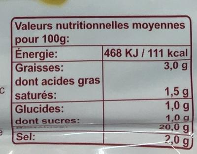 Jambon supérieur de Paris - Voedingswaarden - fr