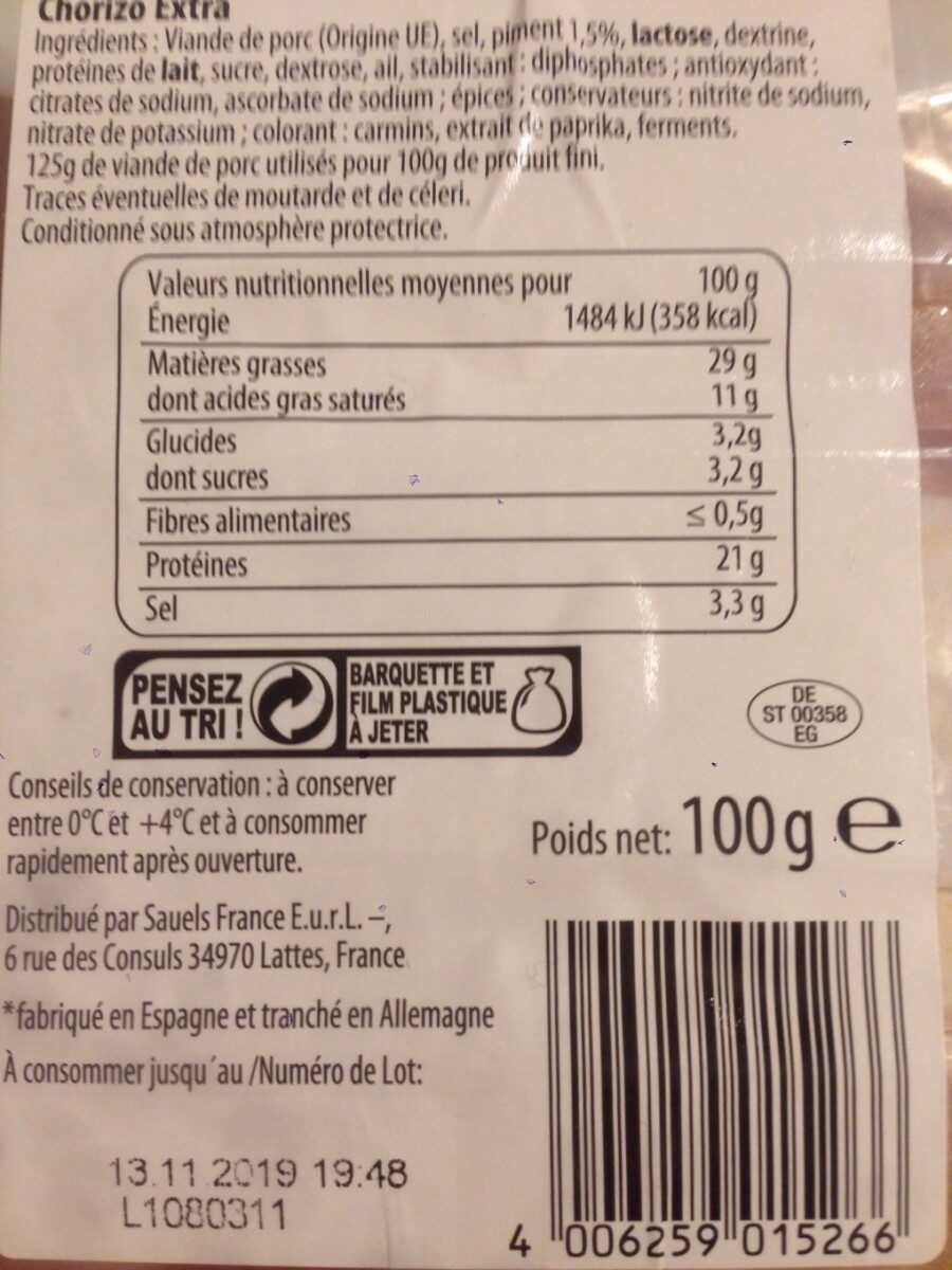 Chorizo extra - Nutrition facts