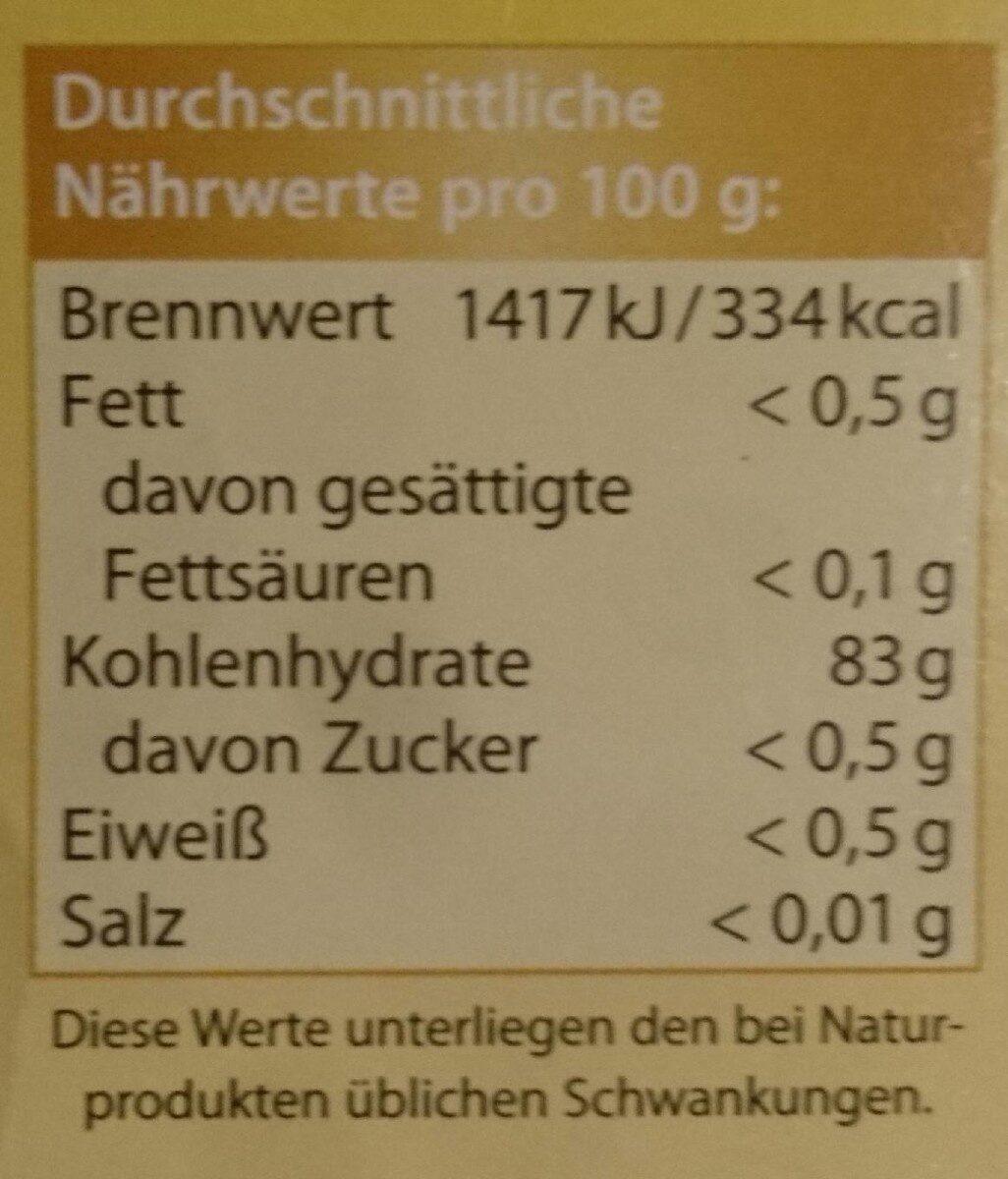 Kartoffelmehl - Nährwertangaben - de