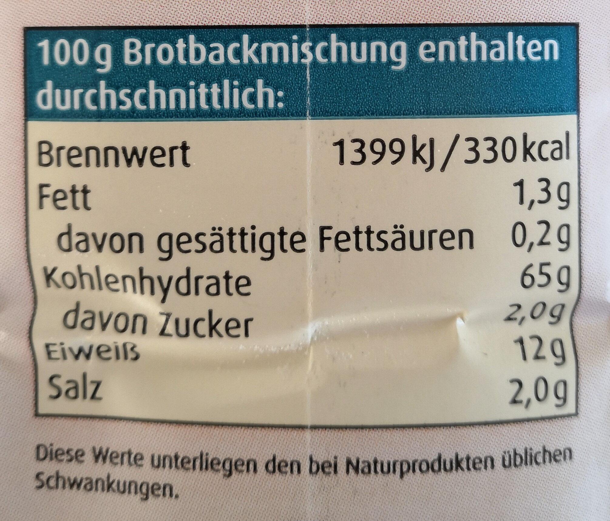 Bauernbrot Backmischung - Informations nutritionnelles - de