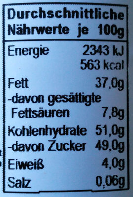 Grashoff Dunkle Chocolat - Nutrition facts