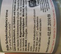 Creme de chocolat blanc - Ingrédients - fr