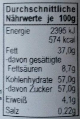 Creme de chocolat blanc - Nährwertangaben