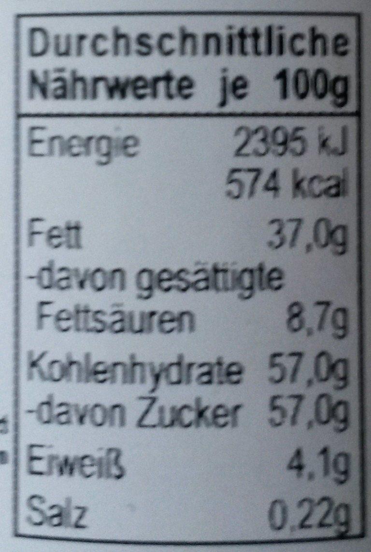 Creme de chocolat blanc - Informations nutritionnelles - de