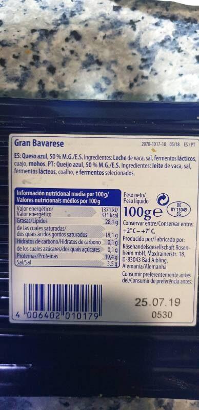 Gran Bavarese - Queso azul natural - Ingredients - it