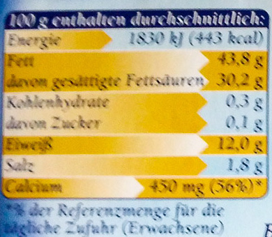 Bavaria blu Der Würzige - Nutrition facts