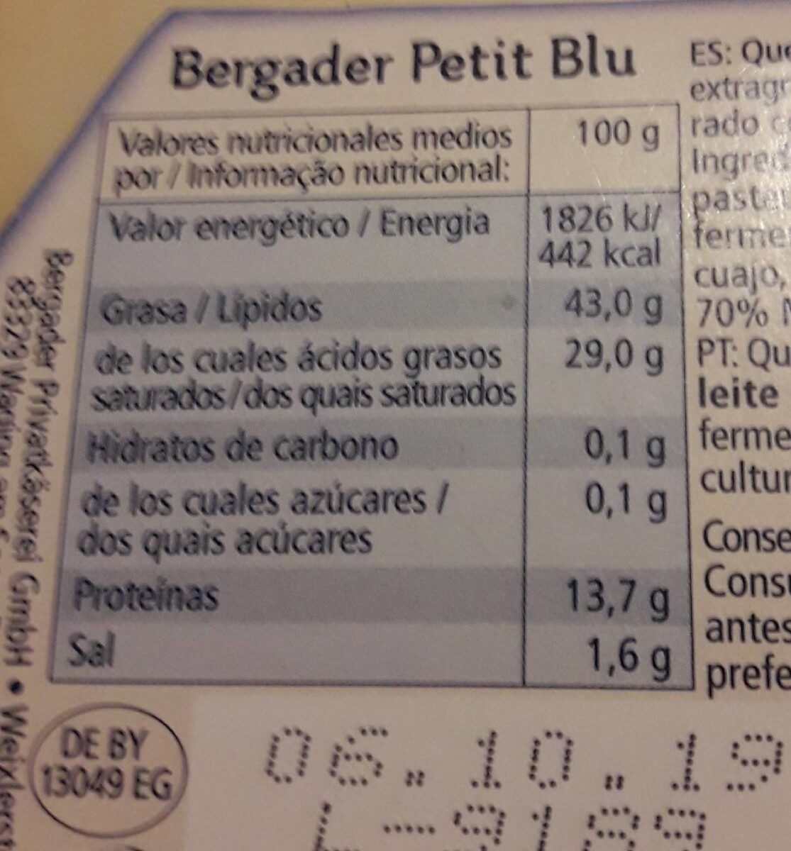 Petit Blu - Informació nutricional