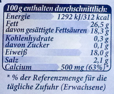 Bavaria blu - Nährwertangaben