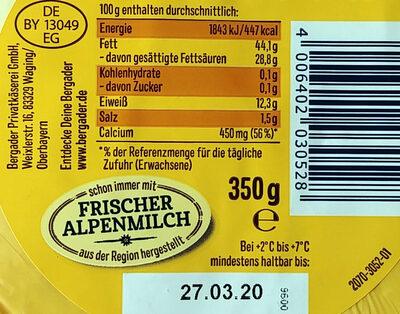 Almzeit cremig-mild - Informations nutritionnelles - de