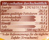 Almkäse Pfeffer - Nutrition facts - de