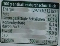 Bergbauern Käse mild-cremig - Nährwertangaben