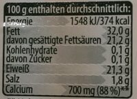 Bergbauern Käse - Bayerischer Butterkäse - Informations nutritionnelles
