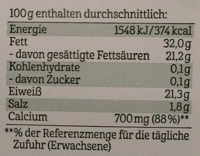 Bergbauern Käse - Bayerischer Butterkäse - Informations nutritionnelles - de