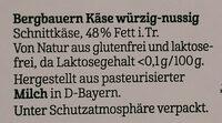 Bergbauern Käse - würzig nussig - Ingrediënten - de