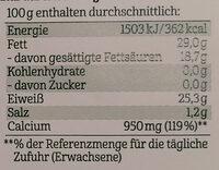 Bergbauern Käse - würzig nussig - Voedingswaarden - de