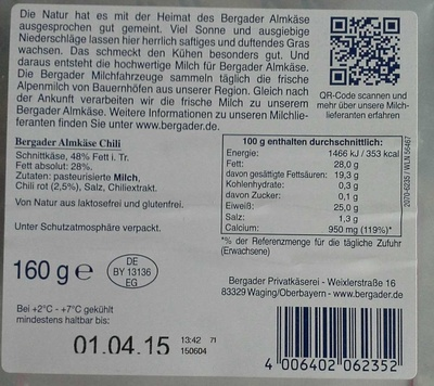 Bergader Almkäse Chili - Inhaltsstoffe