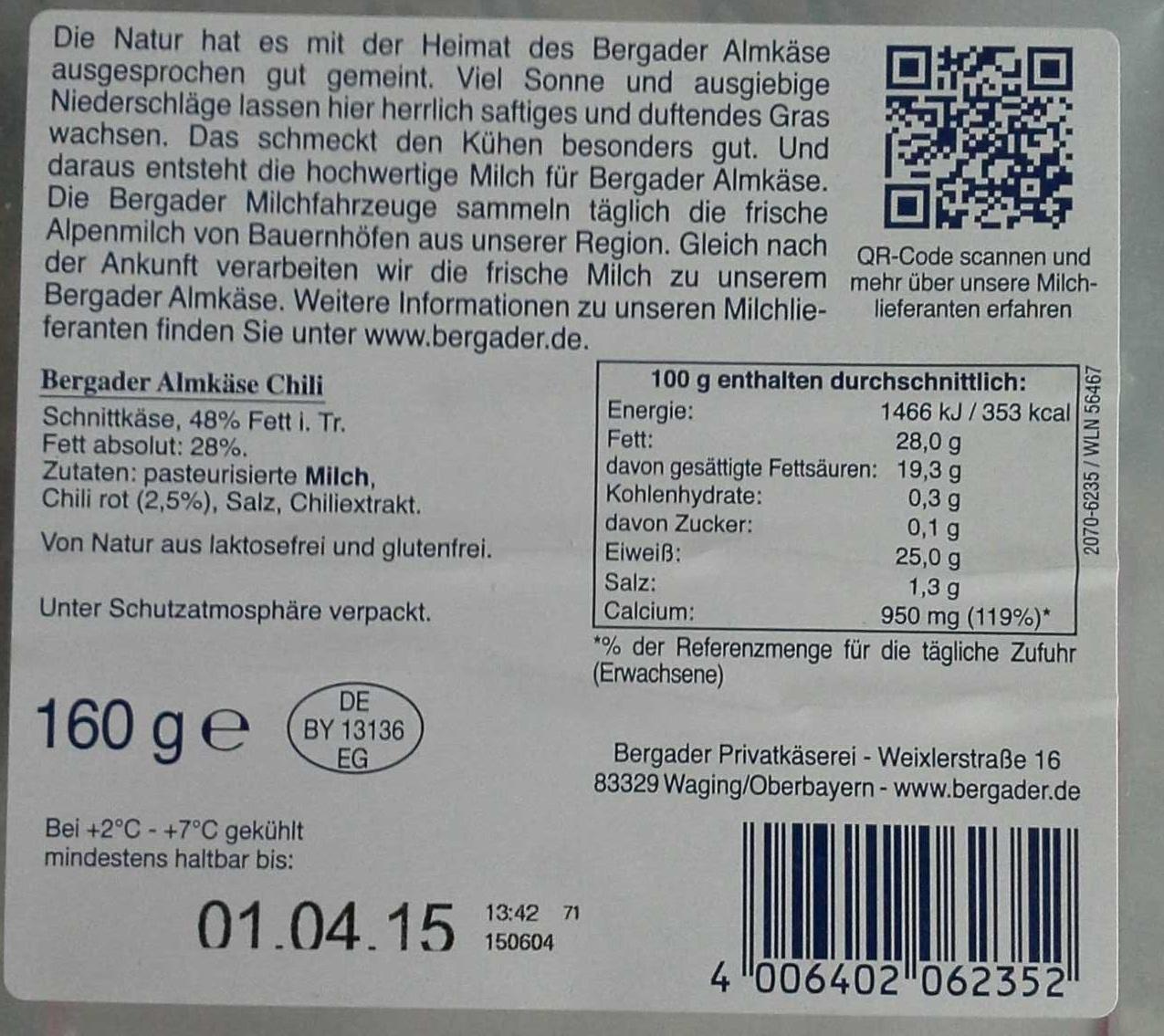 Bergader Almkäse Chili - Ingredients - de